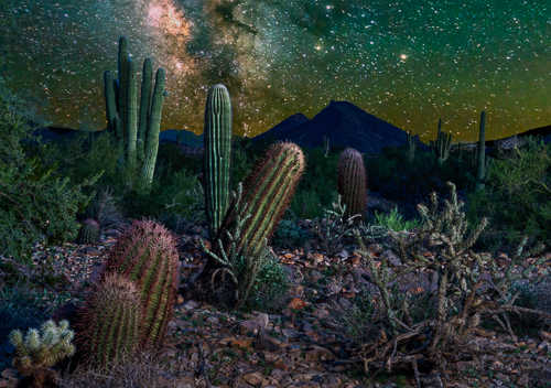Night time in the Arizona desert with the Milky Way bright in the sky. Surgery on my ankle made this possible again.