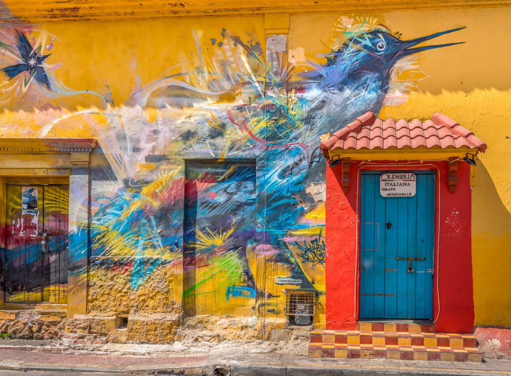 The colorful Getsemani neighborhood in Cartagena.