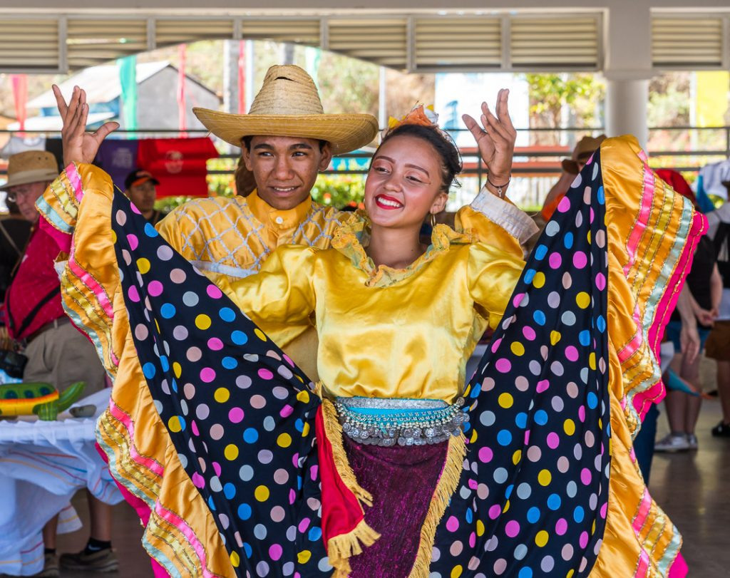Dancers entertaining upon disembarking